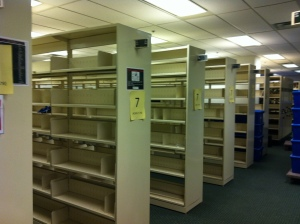 Empty shelves.  The place will start to echo soon.