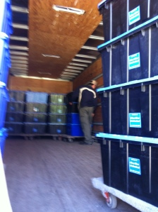 Loading one of the many truckloads of books destined for Robarts
