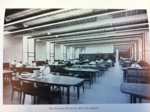 A photo of the reading room from the 1963-64 Calendar - still very much a male domain, not a woman in sight.