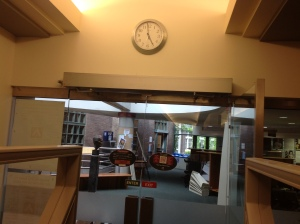 The last photo, 5:00 on Friday (well approximately, that clock was never too accurate) closing the Library for the last time.