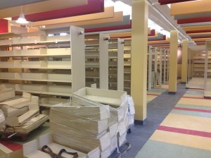 The stacks area in the lower floor with a slightly less traditional colour scheme!